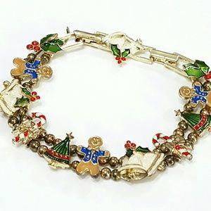 Vintage Avon Christmas Slide Charm Bracelet J14